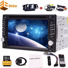 Radio 2 din car dvd player in dash auto gps navigation two din headunit car pc 1080P USB Bluetooth TF AUX SWC + Wireless camera