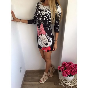 Cute Cartoon Printing Summer Dress Women Sheath Half Sleeve Bodycon Vestidos O Neck Elegant Mini Casual Ladies Dress(China)