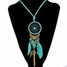 цена на 4 Colors Fashion Feather Leather Resin Bead Catcher Alloy Wing Chain Tassel Pendant Long Necklace Earrings For Women Set Jewelry