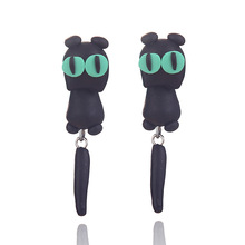 Women Girls Errings Cartoon Cat Three-dimensional 2-pieces combination Erring Green eyes cat Fashion Erring Gift For Cat Lover