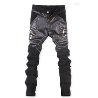2017 Moda Adam Siyah Seksi PU Deri Pantolon Gotik Serseri Rahat fermuar Pantolon Slim Chaparajos