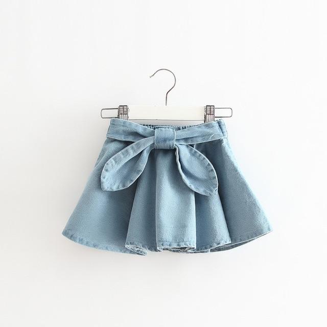 aa72912386 2016 nuevas muchachas del resorte Denim arco verano las faldas de las  muchachas impreso tutu falda