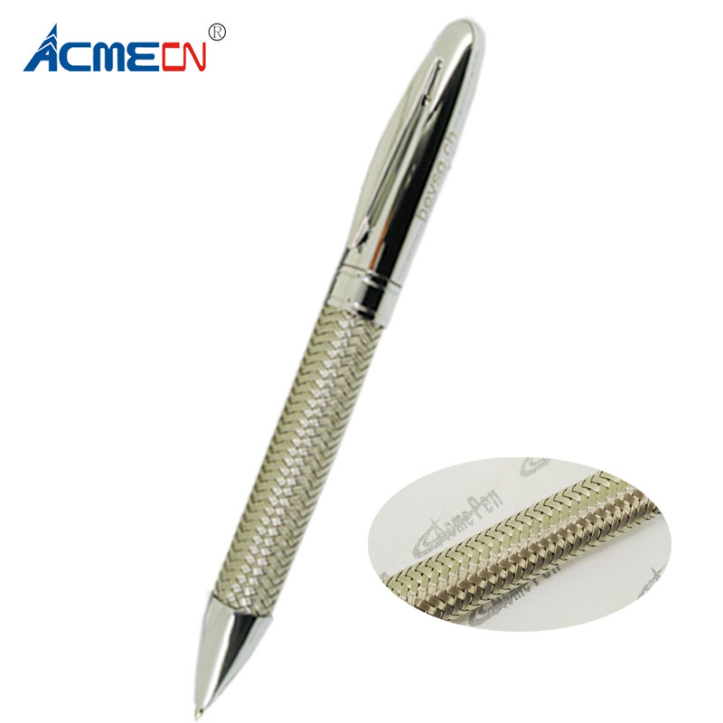 ACMECN Branded Metal Braid Pen Original Design Luxury Silver Trim Ball Office Business Gifts 42g Heavy Ballpoint
