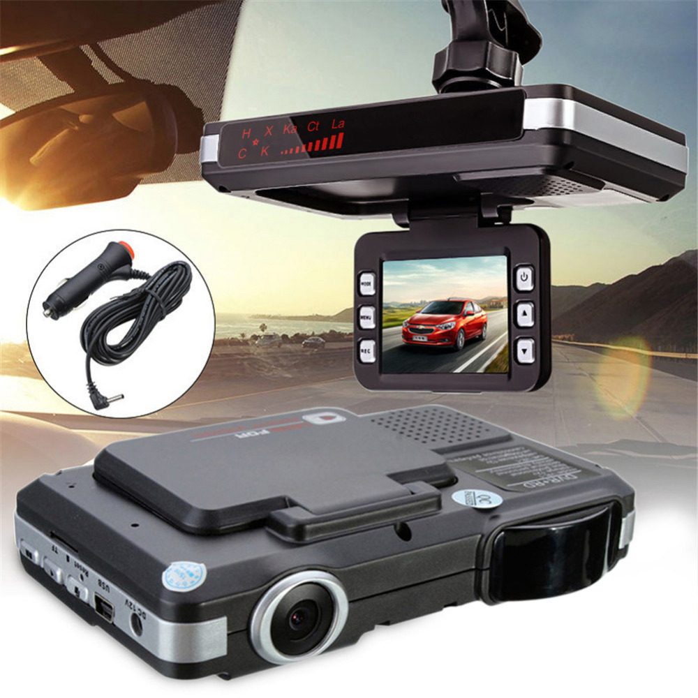 Anti rivelatore del radar Dell'automobile DVR della macchina fotografica di flusso di rilevamento 2 in 1 720 p dash cam car-sistema di allarme del rivelatore video recorder camcorder