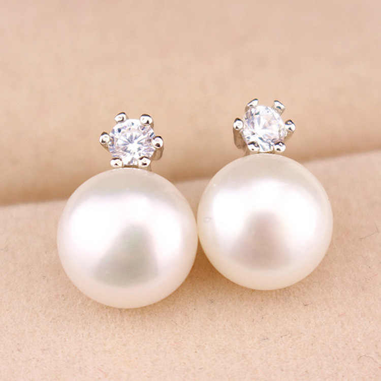 Fashion Wedding Pearl Jewelry Accessories white gold Pearl Earrings Elegant Crystals silver Stud Earrings For Women