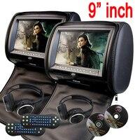 9 cal Samochodów Zagłówek poduszki Monitor samochodowy Odtwarzacz DVD na zamek Cyfrowy Ekran TFT Zagłówek DVD Odtwarzacz FM USB dysk z Grą + 2 IR Słuchawki