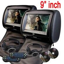 9 inch Car Headrest pillow DVD Player zipper car Monitor Digital TFT Screen Headrest DVD Player FM USB Game Disc+2 IR Headphones
