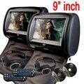 9 pulgadas de Coches Reposacabezas Monitor de almohada Reproductor de DVD del coche de la cremallera Digital TFT Pantalla Reposacabezas Reproductor de DVD FM USB Disco Del Juego + 2 IR Headphones