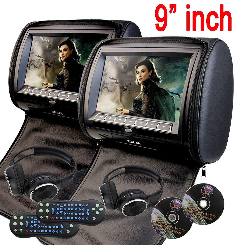 Eincar 9 ''voiture appui-tête oreiller lecteur DVD zipper voiture moniteur TFT écran appuie-tête voiture lecteur DVD FM USB jeu disque + 2 IR casque