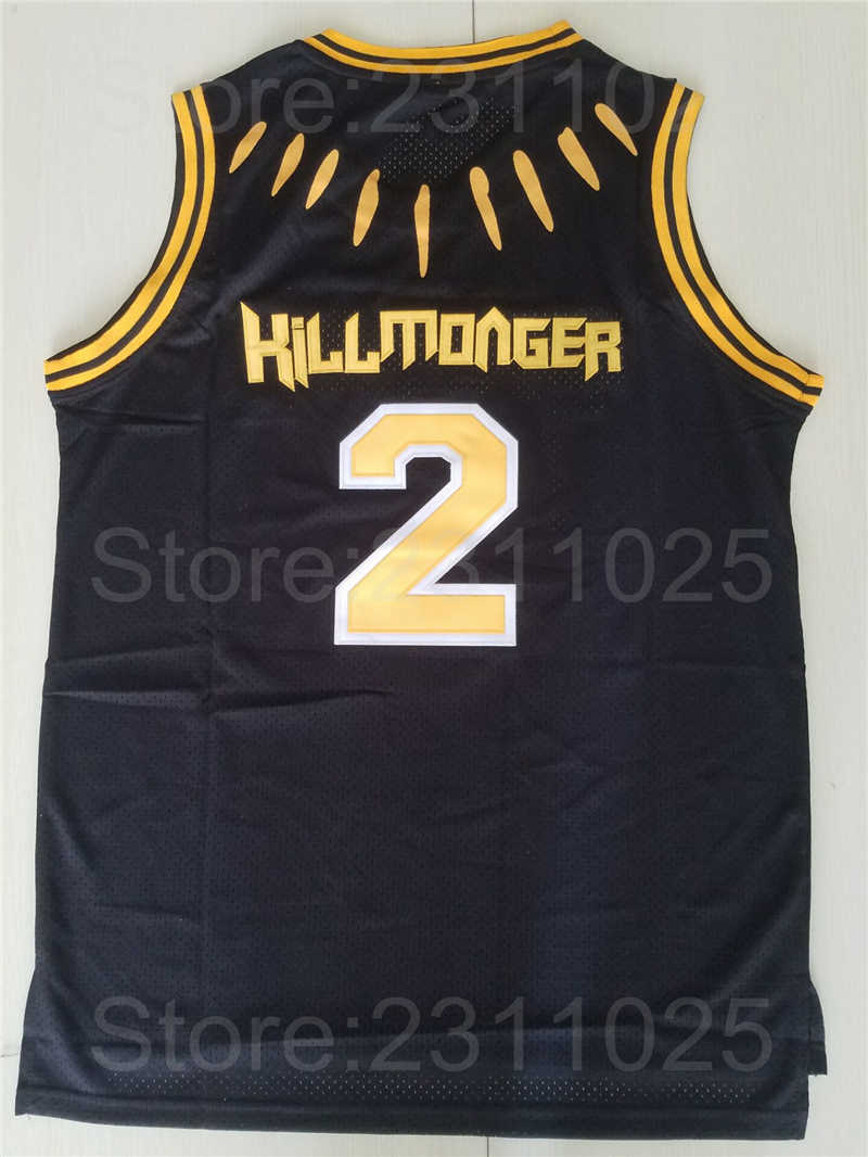 9515b8316a8 ... Ediwallen Movie Black Panther 2 Hillmoager Erik Killmonger WAKANDA  Basketball Jerseys Home Black Breathable Embroidery ...