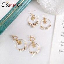 CANNER Fashion Boho Sea Shells Natural Stone Earrings Gold Shell Bohemian Dangle for Women Jewelry kolczyki FI