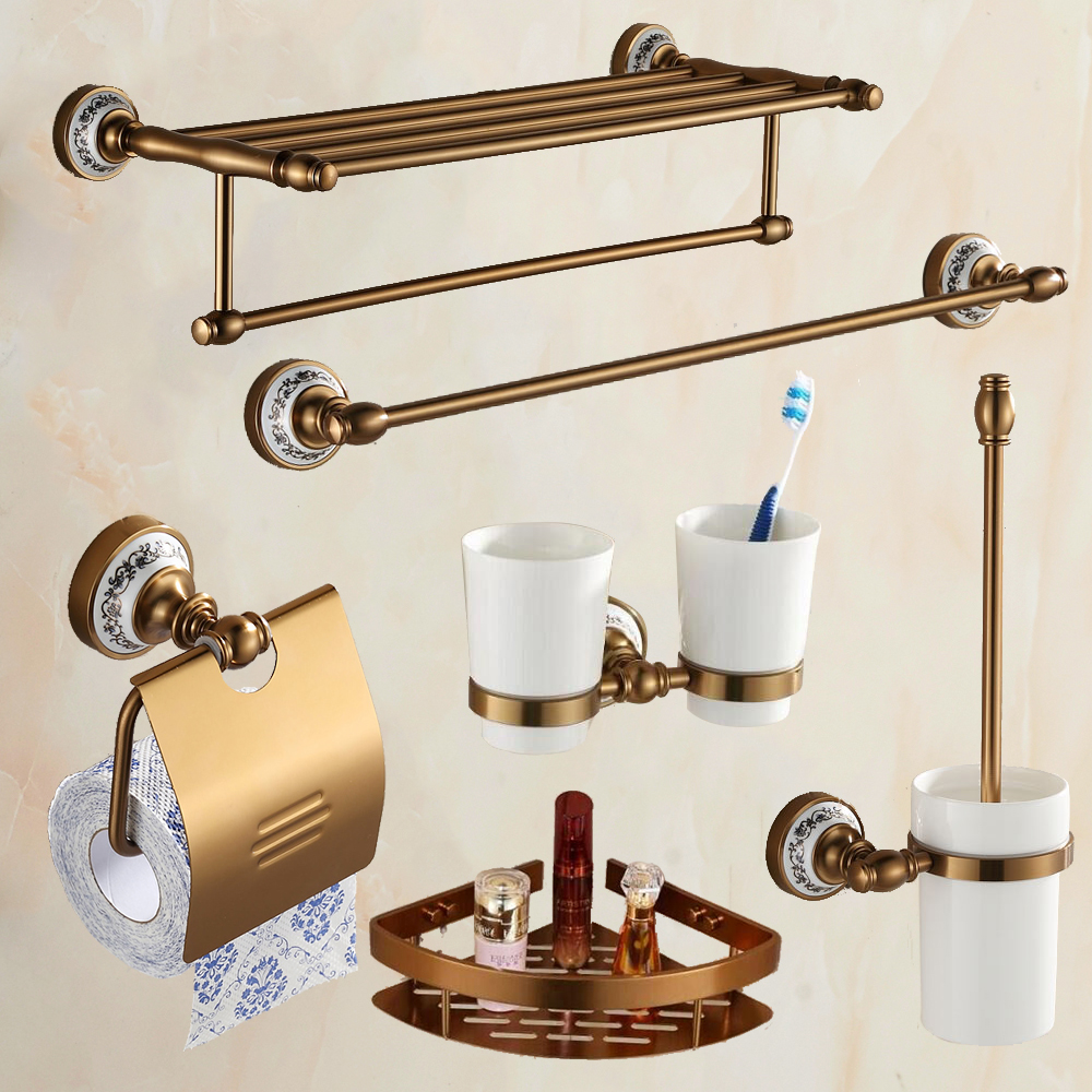 Antique Brass Brushed Aluminum Bathroom Hardware Set Wall Mounted Bathroom  Accessories 6 Items In Complete Set