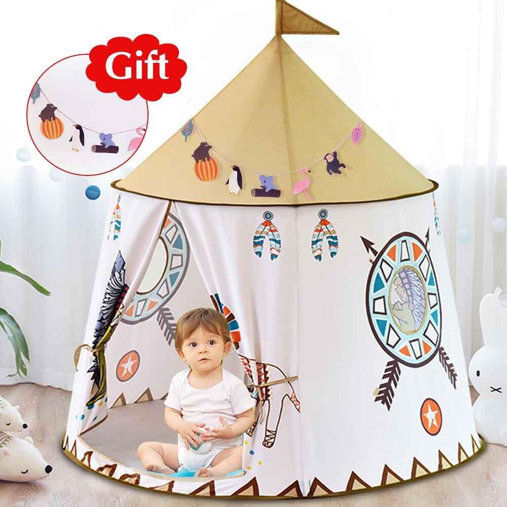 huge discount ca550 68e96 YARD Kid Tent House Portable Princess Castle 123*116cm Present Hang Flag  Children Teepee Tent Play Tent Birthday Christmas Gift