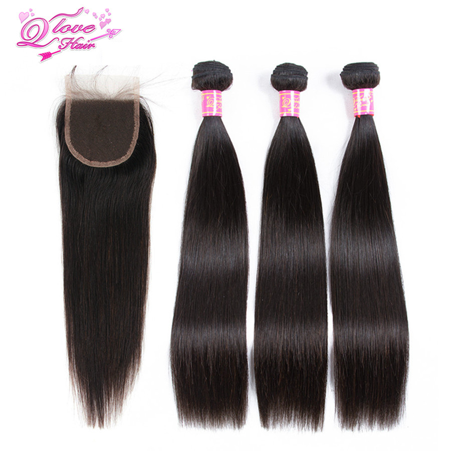 Queen Love Hair Malaysian Straight Human Hair Bundles With Lace Closure Natural Color 3 Bundles Hair