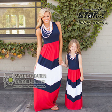 2016 Summer Mother Daughter Dress Stripe Matching Mommy Kids Clothes Family Look Mom And Daughter Dress
