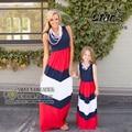 2016 Verano Vestido A Juego de la Raya Los Niños Mamá Ropa de Mirada de la Familia de Madre E Hija Madre E Hija Vestido Ropa Mama e Hija
