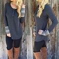 Botón Moda mujer Otoño Invierno Estampado Geométrico Manguito Suéter Pullover Géneros de Punto