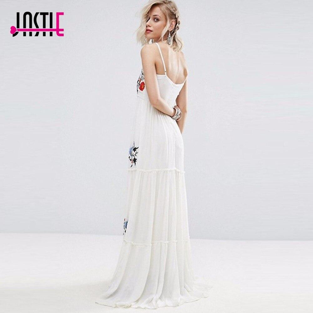 Jastie robe blanche Floral brodé Maxi robe élégante robe de soirée Boho décontracté plage longues robes d'été femmes robes - 4