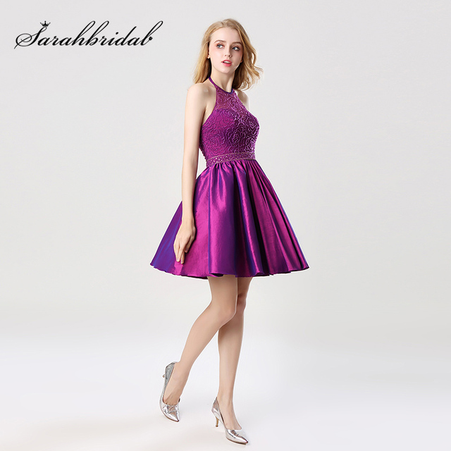 Short A-Line Grape Homecoming Dresses with Halter Sleeveless Taffeta Beading Graduation Party Gowns Formal Cocktail Dress OS401 1