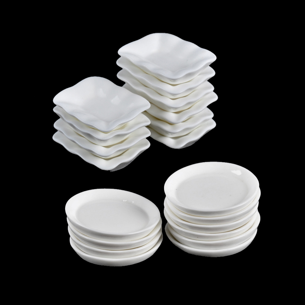 10PCS Doll Mini Food White Dishes Tableware Dollhouse Miniature Trays Plates Kitchen Toys Doll House Accessories