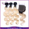 "New material Blonde Brazilian Hair With Closure Body Wave 1b/613 Ombre Hair With Closure 3 Bundles Dark Roots Blonde Hair 8""-30"""