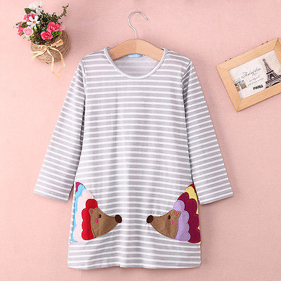 Stylish-Kids-Children-Girls-Clothes-Dresses-Birthday-Gifts-Party-Long-Sleeved-Shirt-A-line-Striped-Cotton-Dress-2-3-4-5-6-7-Year-3