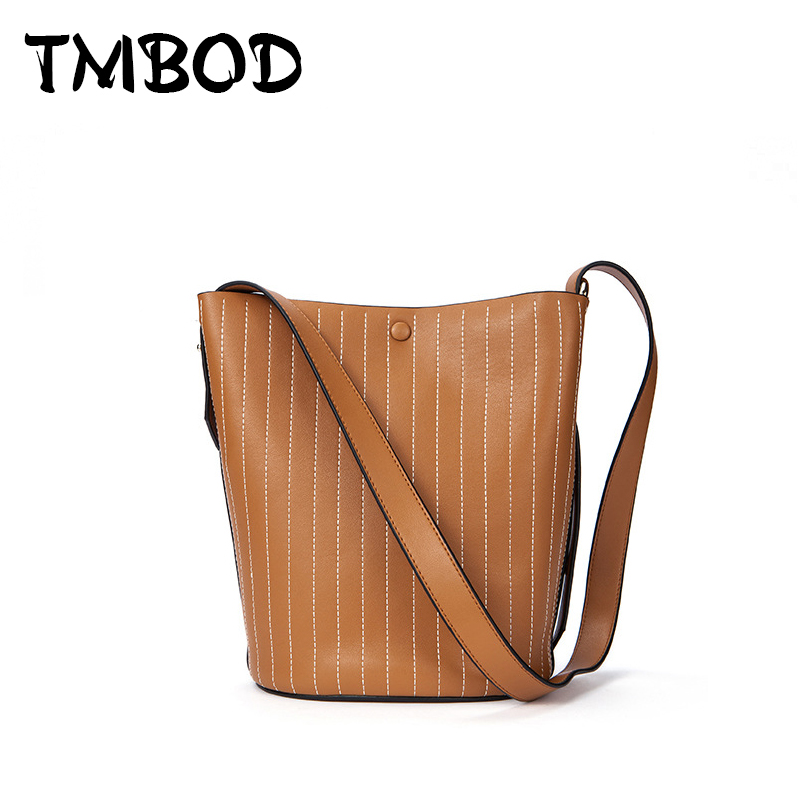 New 2018 Design Thread Bucket Bag Stripe Shoulder Bag Women Classic Split Leather Handbags Ladies Messenger Bag For Female an838