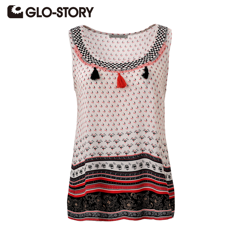 GLO-STORY Women Blouses 2020 New Summer Fashion Loose Casual Tassel Shirts Sleeveless Women Tops Blusas WCS-3332