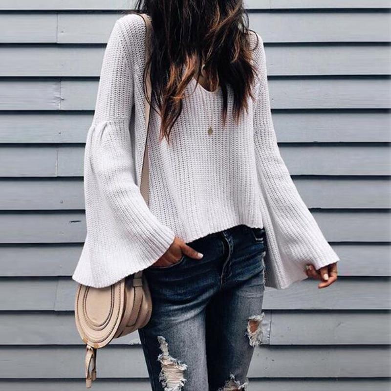 100% Wahr Frauen Casual Jumper V-ausschnitt Langarm Pullover Lose Gestrickte Pullover Outwear Hitze Und Durst Lindern.