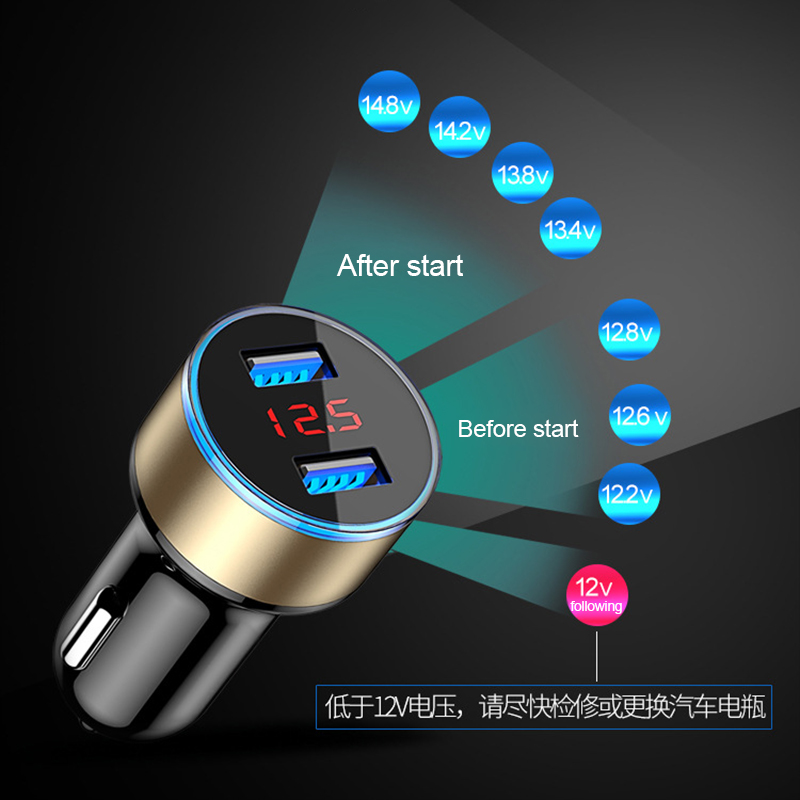 Mini Dual USB Digital LED Display Light Car Charger Adapter with 3.1A Mobile Phone Adapter Fast Auto Charge for Samsung iPhone
