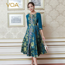 VOA 2017 Fall Fashion Blue Vintage Chinese Style Yarn-dyed Jacquard Silk Printed Dress Plus Size High Waist Slim Dress AJX01801