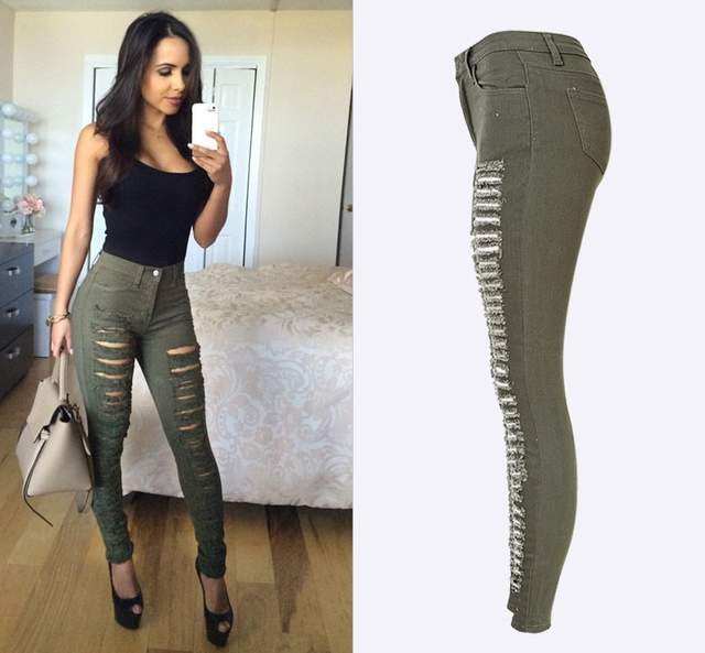 da434f6200 placeholder Fashion Army Green Black White Sexy Ripped Jeans Women Plus  Size Distressed High Waist