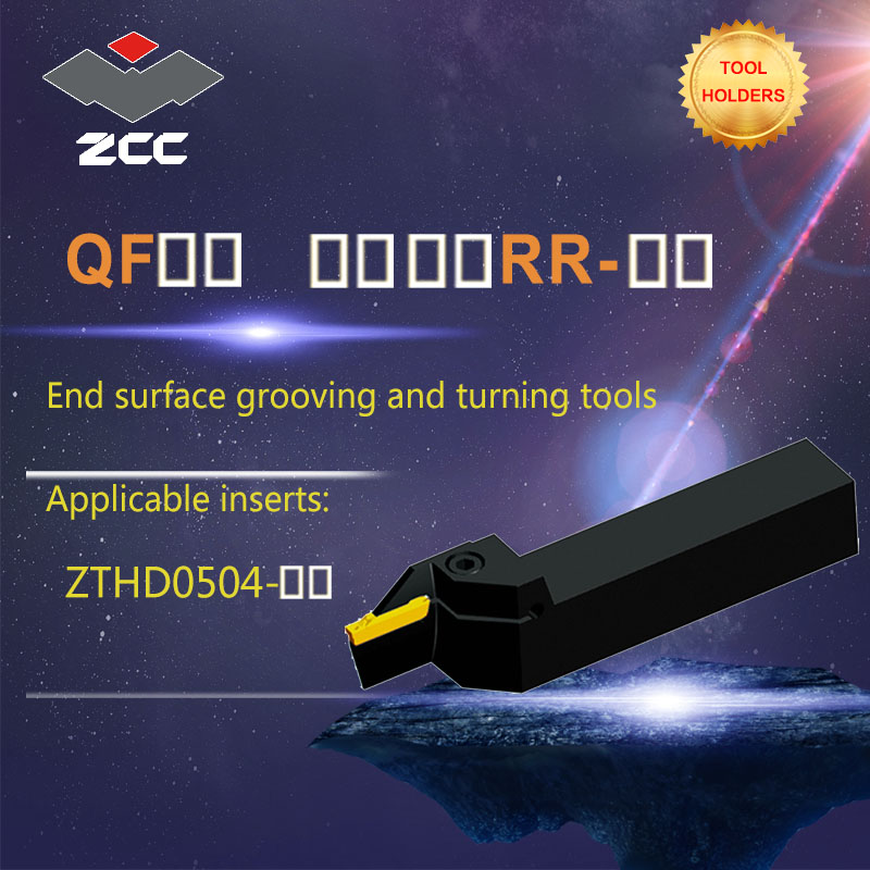 ZCC CNC ferramenta torno titular QF-RR placa ferramenta de corte de carboneto de tungstênio ferramentas de suporte final superfície grooving e ferramentas de torneamento