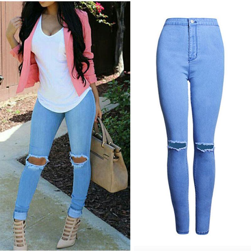 Waist Women Hole Denim Pencil Blue Pants Style Clothes Cheap Trousers High Jeans Slim Solid Thin Europe Nice Stretch 1WSvaYfw