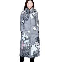 Winter Long Jacket Coat Women Parkas Thicken Warm Vintage Print Down Cotton Jacket Large Size Hooded Outerwear Female Basic Coat