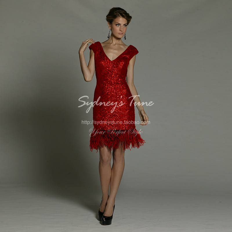 free shipping robe de soiree 2018 new fashion cheap vestido de festa curto short feathers prom gown Party   bridesmaid     dresses