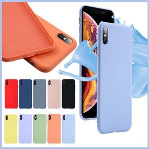 Image 3 - لينة السائل سيليكون جراب هاتف ل iphone X XS ماكس XR 7 8 6 6 S زائد لينة هلام المطاط للصدمات غطاء كامل واقية عودة حالة