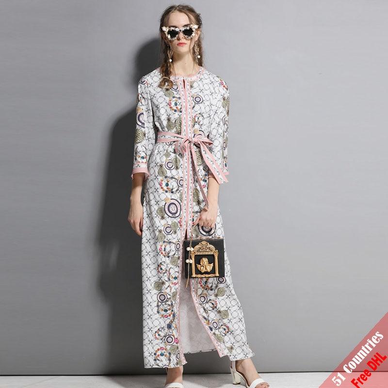 High Quality Designer Runway Maxi Dresses 3XL Plus Size Women s Autumn  Vintage Printed Split Belt Party. US  90.99. New 2018 ... e72b071d742f