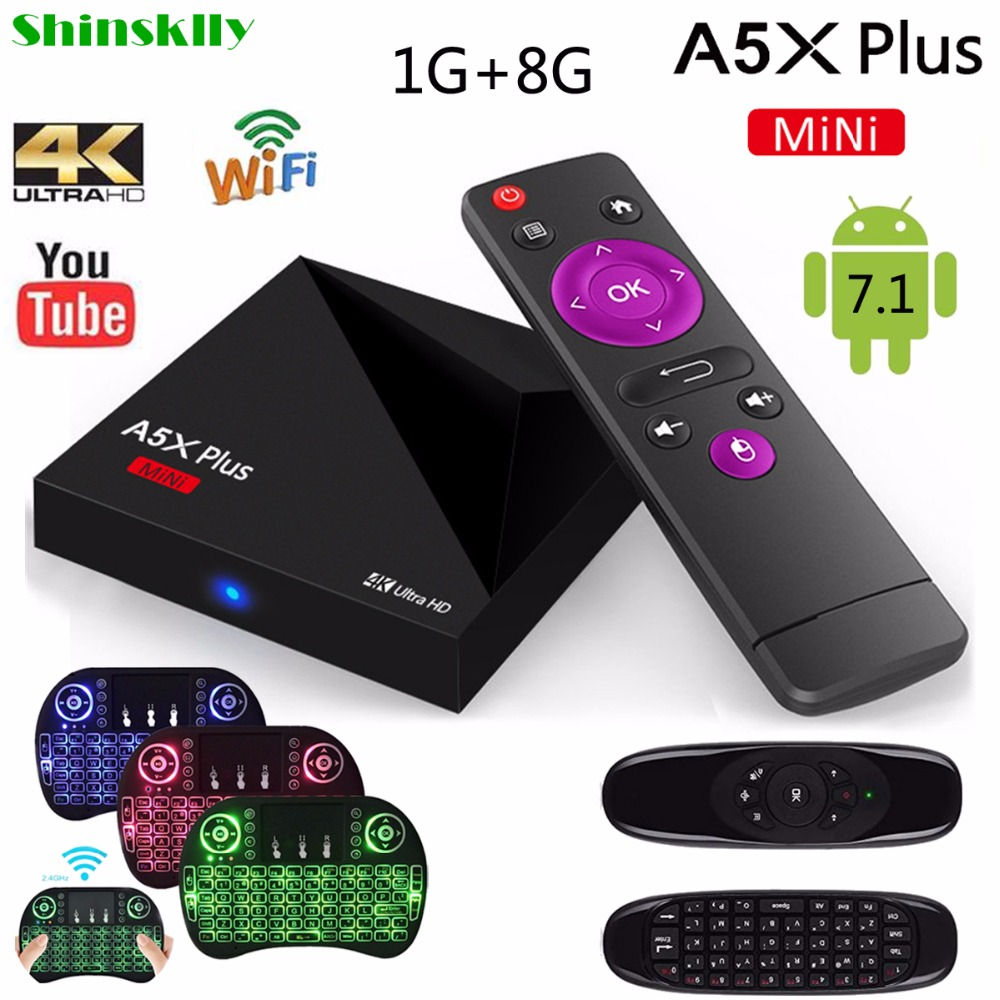 Shinsklly A5X Plus smart TV BOX Android 7.1 RK3328 Quad-Core RAM 1GB+8GB Android TV BOX 2.4G WIFI HD 2.0 4K VP9 3D Media Player mx plus amlogic s905 smart tv box 4k android 5 1 1 quad core 1g 8g wifi dlna потокового tv box