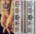Styles Metallic Tattoo Flash Tattoos Silver Metalic Temporary Tattoo Gold and silver Necklace Imperial crown Tattoo Disposable