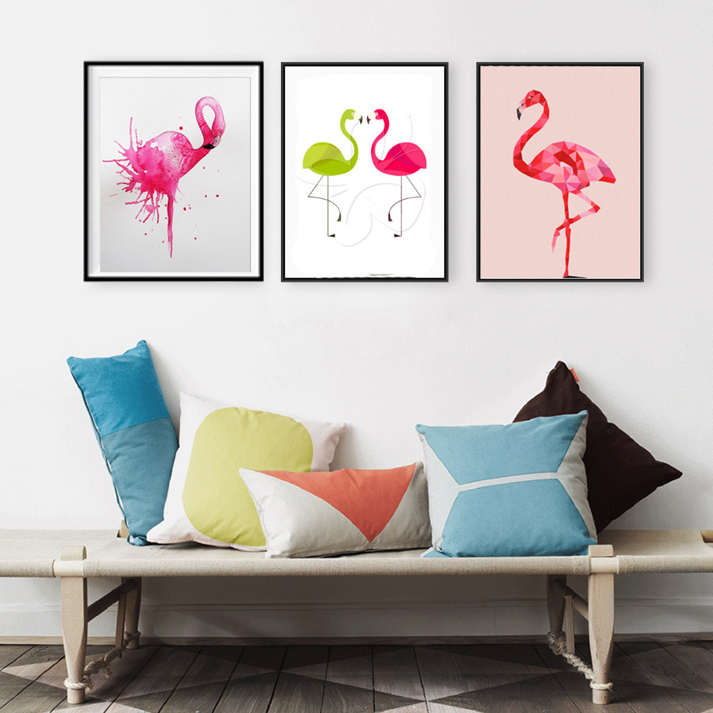 Watercolor pink flamingo prints canvas painting wall for M s living room curtains
