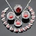 Red Creado Granate Piedras Blancas de Plata Juegos de Joyería Collar Colgante pendientes de Aro de Color Anillo de La Pulsera Para Las Mujeres Caja de Regalo Libre