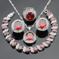 Red Created Garnet White Stones Silver Color Jewelry Sets Necklace Pendant Hoop Earrings Ring Bracelet For Women Free Gift Box
