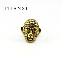ITIANXI New Arrival Monkey King Shape Animal Ring Men Retro Stainless Steel Biker Jewelry High Quality