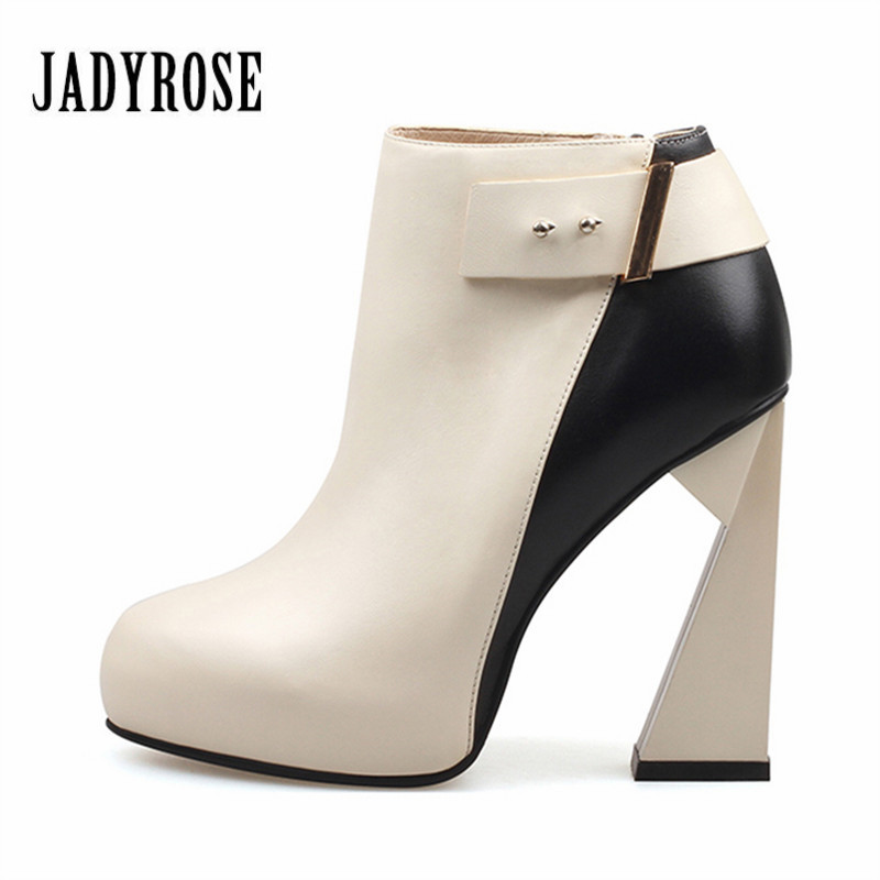 Jady Rose Strange Heel Ankle Boots for Women Mixed Color High Heel Shoes Woman Autumn Botas Mujer Ladies Platform Pumps strange heel women ankle boots genuine leather elastic booties wedge shoes woman high heels slip on women platform pumps