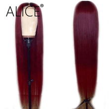 ALICE Hair Burgundy Lace Front Wig With Baby Hair Straight 130% Density Brazilian Remy Ombre Human Hair Wig With Dark Roots 13x4(China)