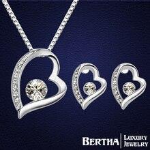 Moda señora Heart set de joyas pendientes colgantes de los collares para mujeres del banquete de boda con Swarovski Elements accesorios de la boda