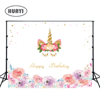 photo backdrops Birthday banner golden unicorn birthday party background props for newborn customized pink rose flowers W 298