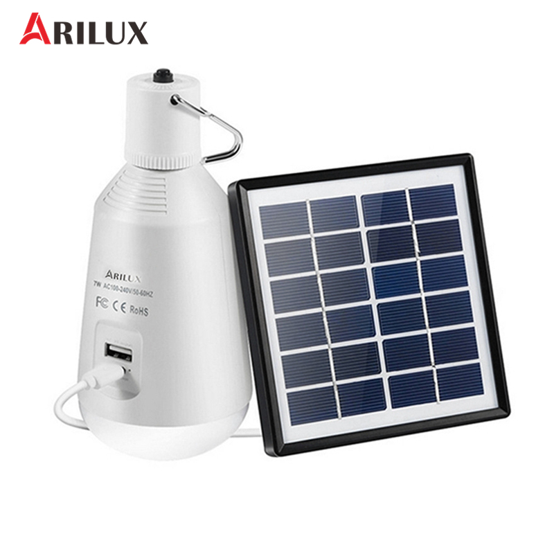 лучшая цена ARILUX 7W Solar LED Light Bulb Multi-function DC5V USB Rechargeable Camping Light Can Charge For Digital Device