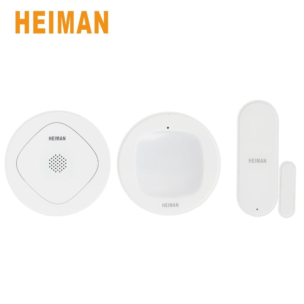 цена на HEIMAN Smart Gateway ZigBee Wireless Door Window Sensor and Smart Motion Infrared Sensor Detector Security Alarm Kit Set-HS301